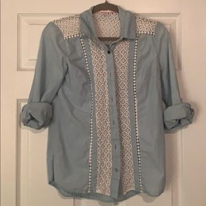 Denim and lace button up